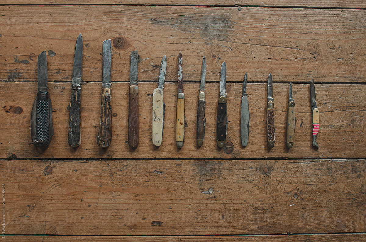 Collection of old Pocket Knives by Neil Warburton - Stocksy