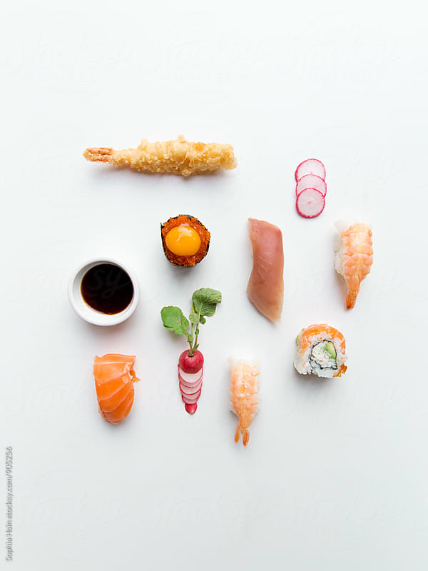 Sushi neatly organized by Sophia Hsin for Stocksy United