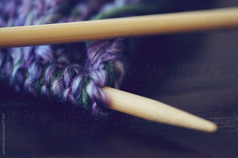 Bamboo knitting needles with lavender yarns by kelli kim for Stocksy United
