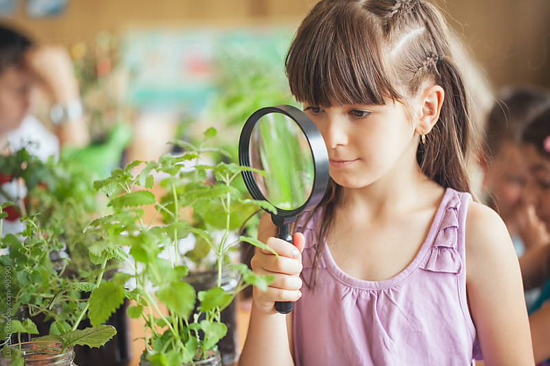 Girl With a Magnifyling Glass in a Biology Lesson by Lumina for Stocksy United
