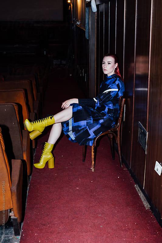 Fashion Model Sitting While Posing by Katarina Radovic for Stocksy United