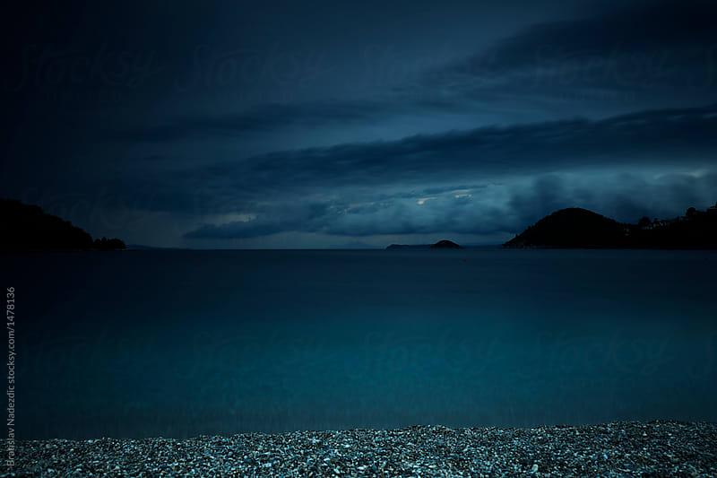 Sea shore at night