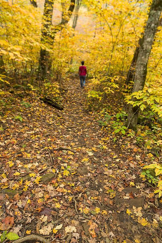 Woman walking on a trail in Autumn by Adam Nixon for Stocksy United