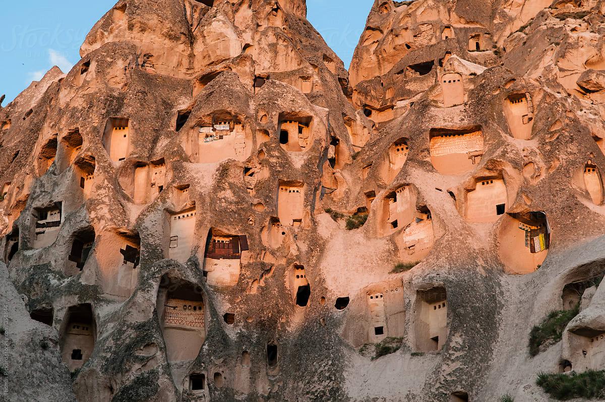 Cave Dwellings Uchisar Village, Cappadocia, Turkey. by ...