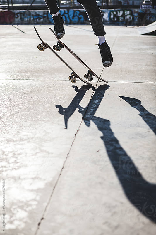 Having Fun with Two Skateboards at the Skatepark by Giorgio Magini for Stocksy United