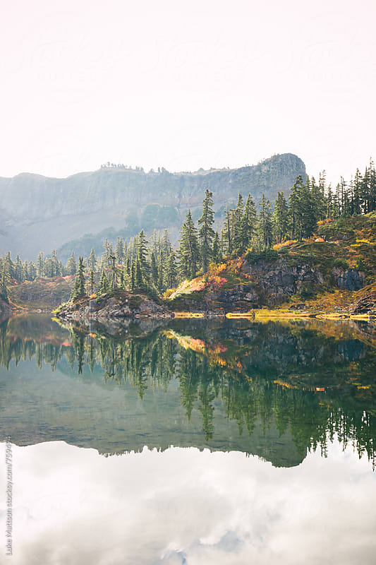Subalpine Lake Reflection In Mount Baker National Forest And Wilderness by Luke Mattson for Stocksy United