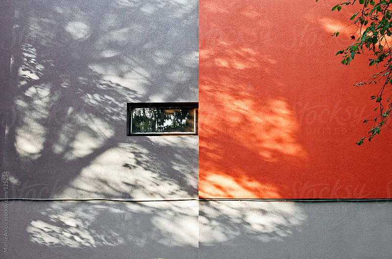 Shadows of the tree on the gray red building facade by Marija Anicic for Stocksy United