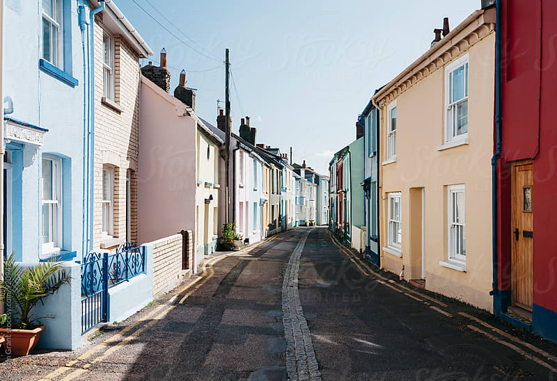 Colourful terrace houses in Devon, UK. by Liam Grant for Stocksy United