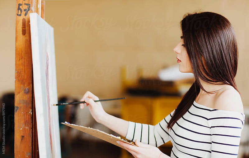 Art student drawing a painting by MEM Studio for Stocksy United