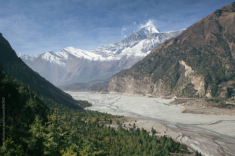 Mt. Dhaulagiri and the Kali Gandaki river. by Shikhar Bhattarai for Stocksy United