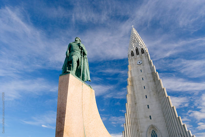 Statue of Leifur Eriksson, the Viking chief in Iceland, Reykjavik by Gavin Hellier for Stocksy United