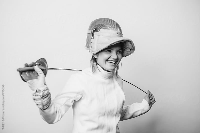Smiling female fencer by T-REX & Flower for Stocksy United