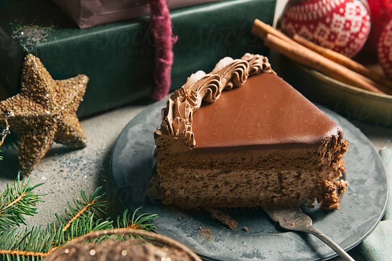 Christmas Chocolate Cake by Lumina for Stocksy United