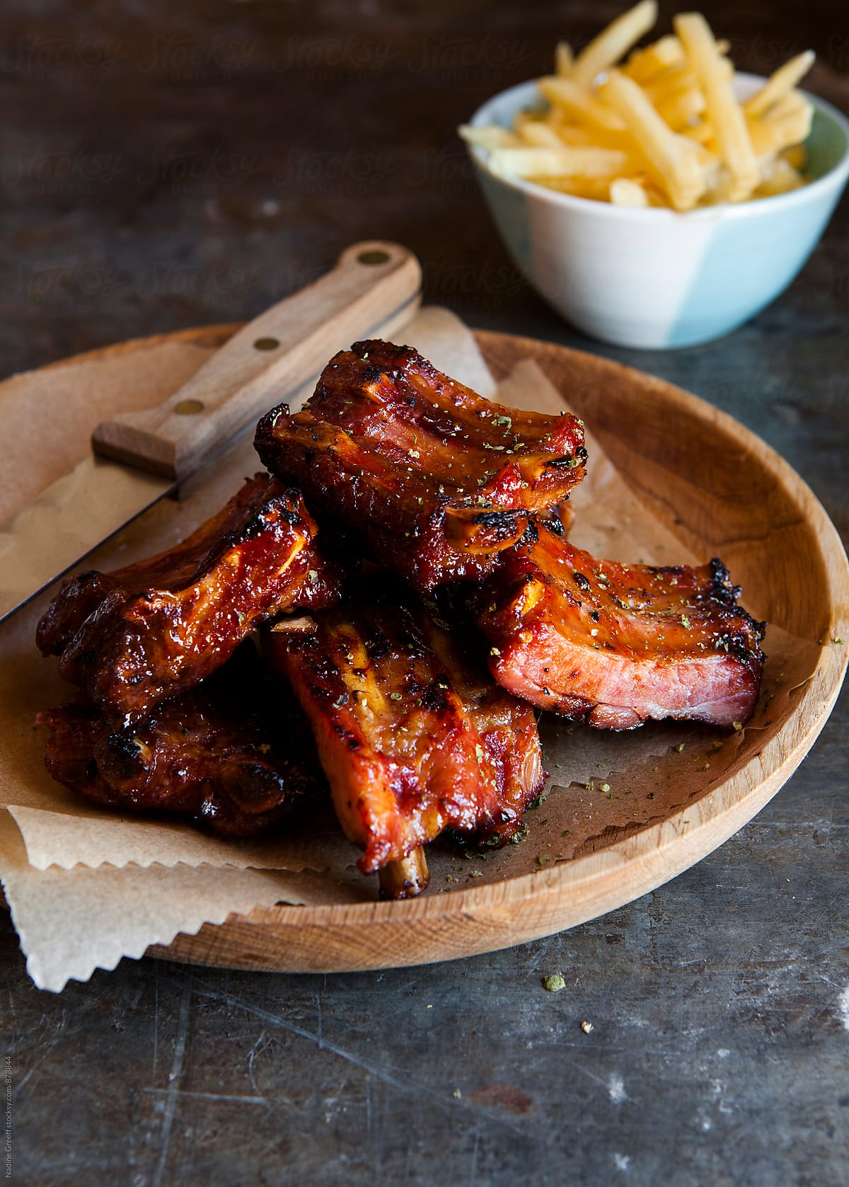 Stock Photo - Sticky Bbq Ribs With Fries