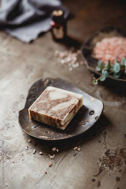 Natural soap with himalayan pink salt by Tatjana Zlatkovic for Stocksy United