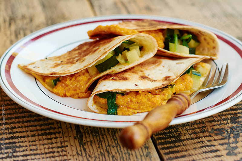Vegan Zucchini, Spinach Quesadillias by Harald Walker for Stocksy United