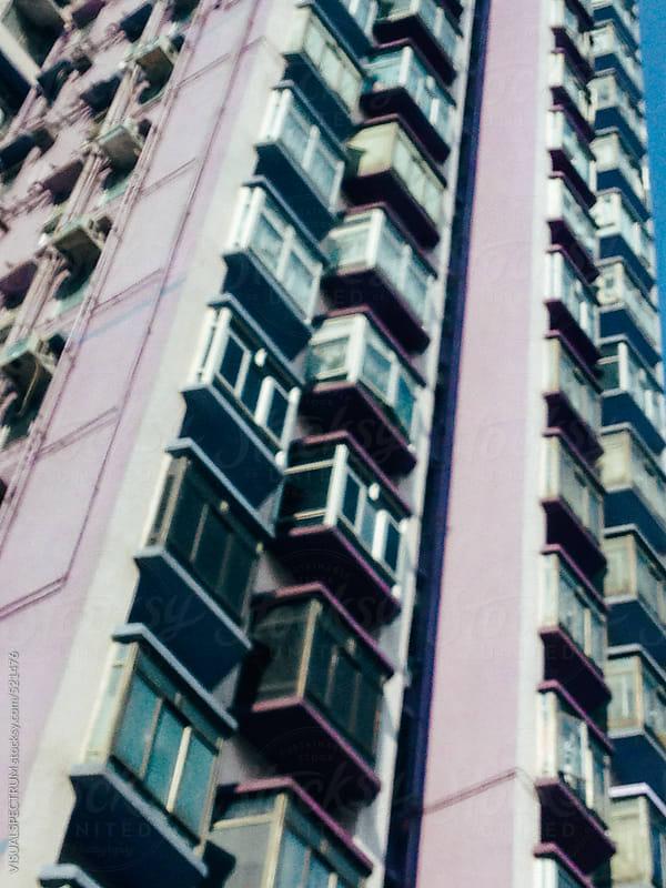 Purple Retro High-Rise Building Defocused by VISUALSPECTRUM for Stocksy United