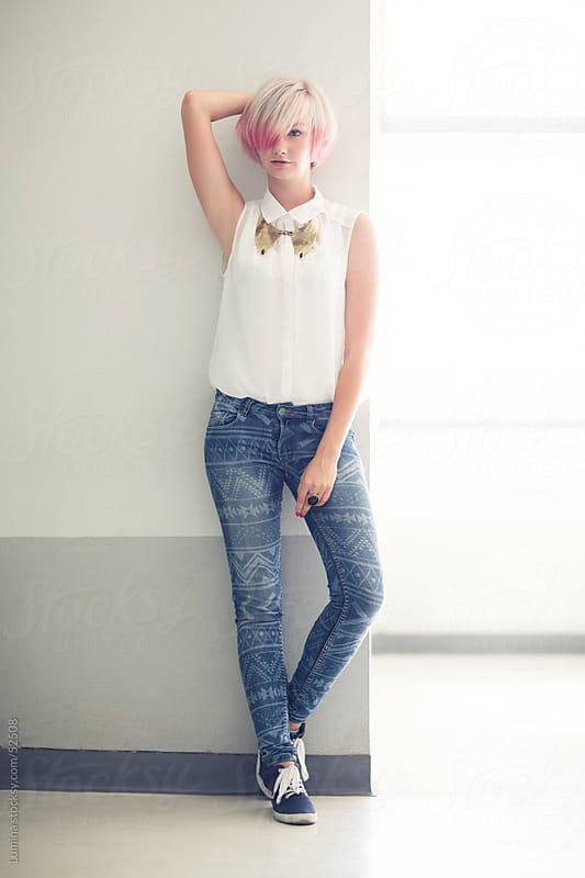 Beautiful Fashionable Woman Posing by Lumina for Stocksy United