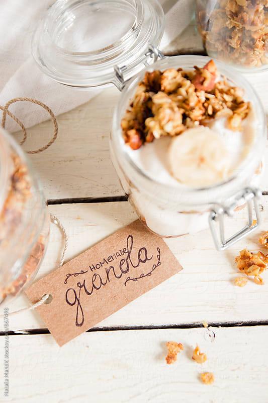Yogurt with homemade granola  by Nataša Mandić for Stocksy United
