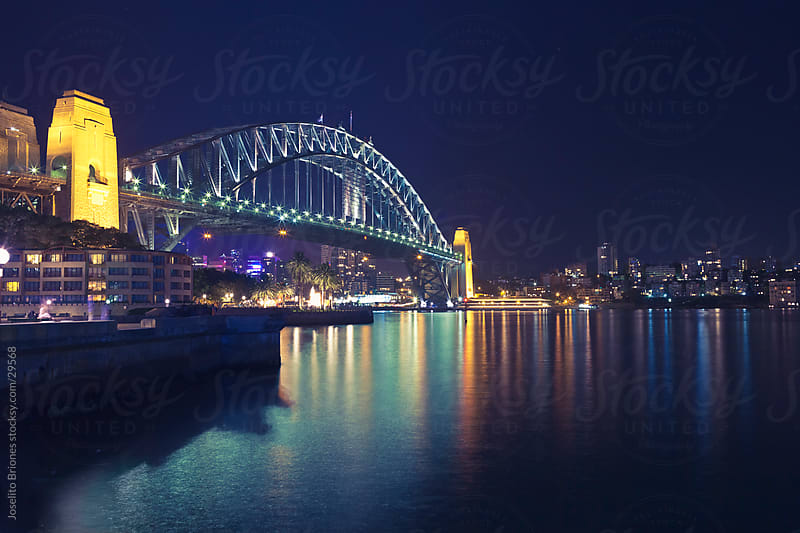 Night Photography of Sydney Harbour Bridge, Australia by Joselito Briones for Stocksy United