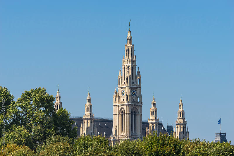 Vienna (Wien), Austria - The Towers of the Neo-gothic City Hall on a Sunny Day