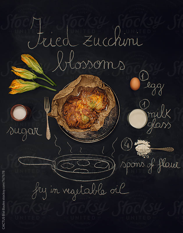 Zucchini blossoms recipe by CACTUS Blai Baules for Stocksy United