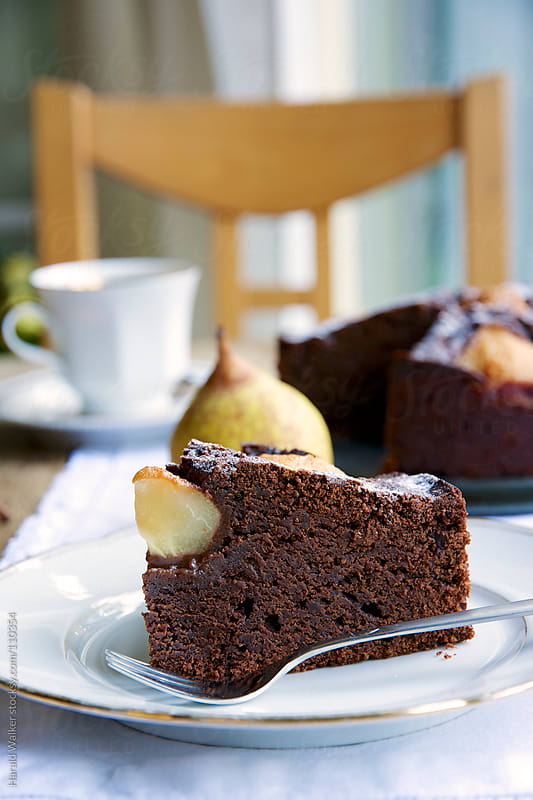 Pear and Chocolate Brownie Cake by Harald Walker for Stocksy United