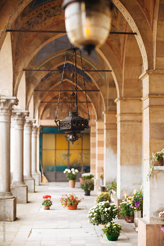 Detail of ancient italian cemetery's gallery by Laura Stolfi for Stocksy United