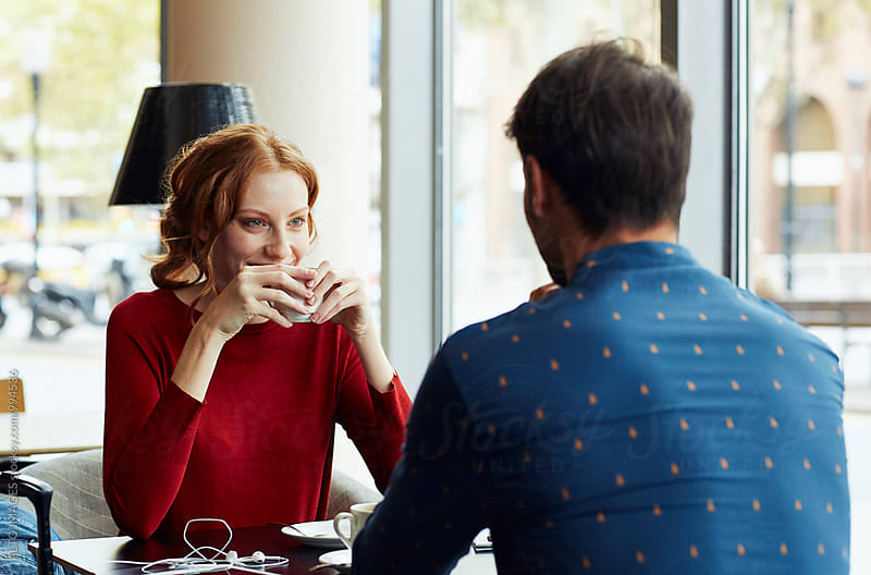 Woman Having Coffee With Boyfriend In Restaurant by ALTO IMAGES for Stocksy United