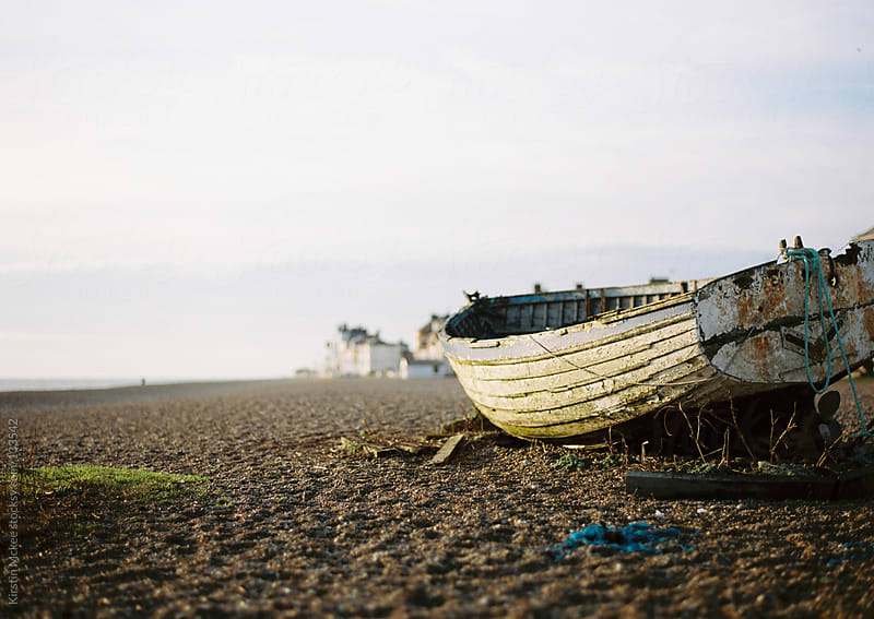 Fishing boat on beach at Aldeburgh by Kirstin Mckee for Stocksy United