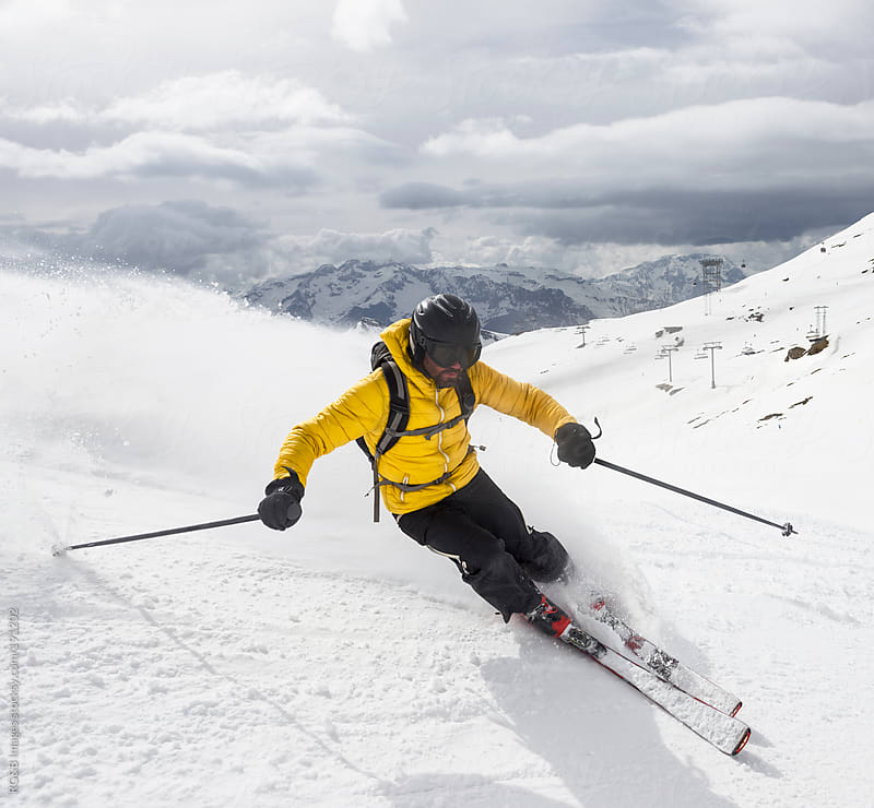 skier carving  by RG&B Images for Stocksy United