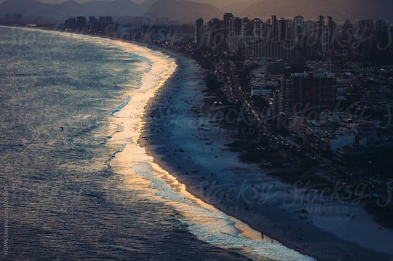 Sunset falls over Ipanema Beach in Rio De Janeiro  by HOWL for Stocksy United