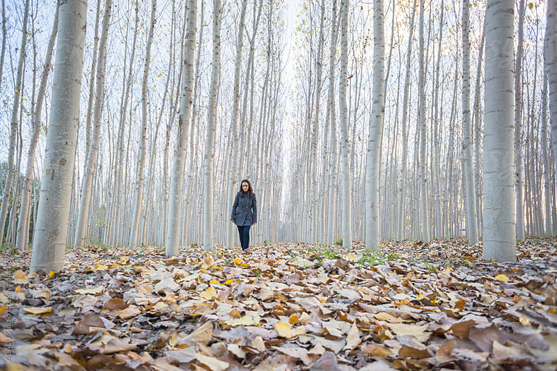 Woman walking through the woods in autumn by ACALU Studio for Stocksy United