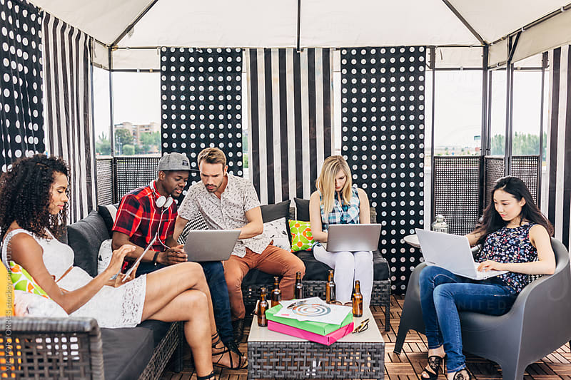 Coworking Outdoor Office with Young Entrepreneurs