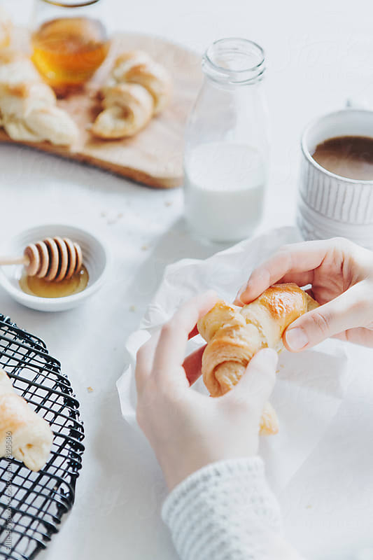 Breakfast with croissants by Ellie Baygulov for Stocksy United