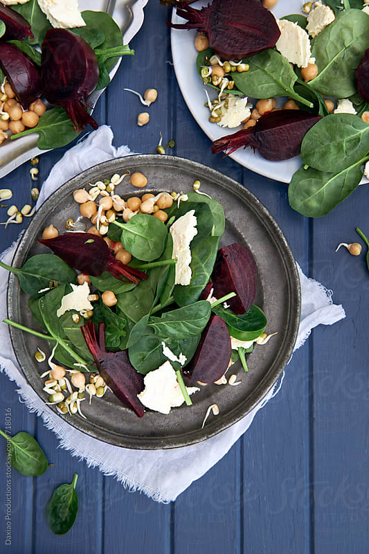 beetroot salad with sprouts by Daxiao Productions for Stocksy United