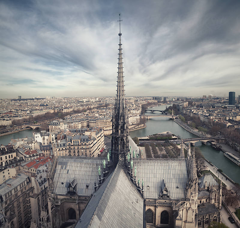 Paris skyline seen from the top of Notre Dame cathedral by Ivan Bastien for Stocksy United