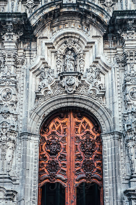 Door and facade in Mexico City Metropolitan Cathedral by Alejandro Moreno de Carlos for Stocksy United