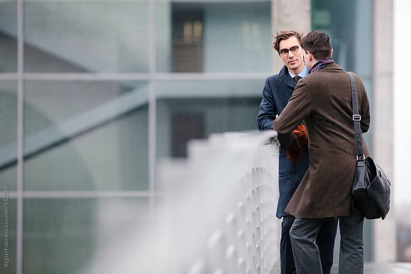 Two Businessmen Outdoors Planning by VegterFoto for Stocksy United