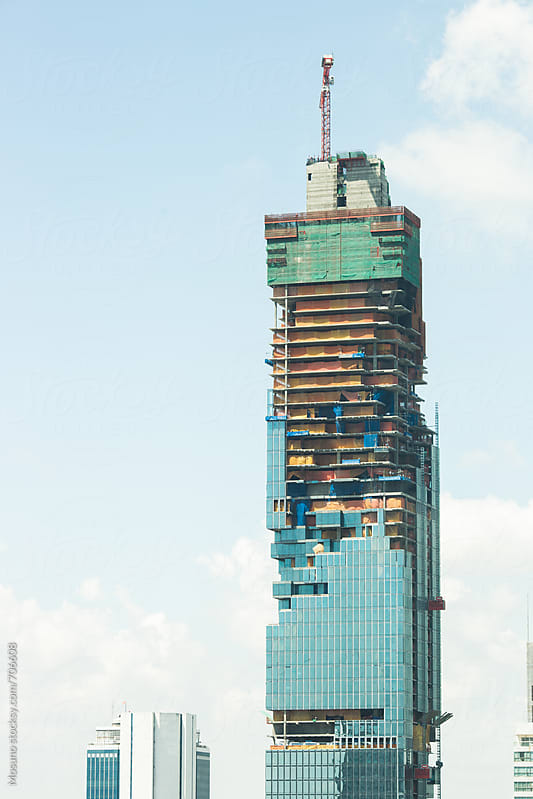 Skyscraper Under Construction in Bangkok City by Mosuno for Stocksy United