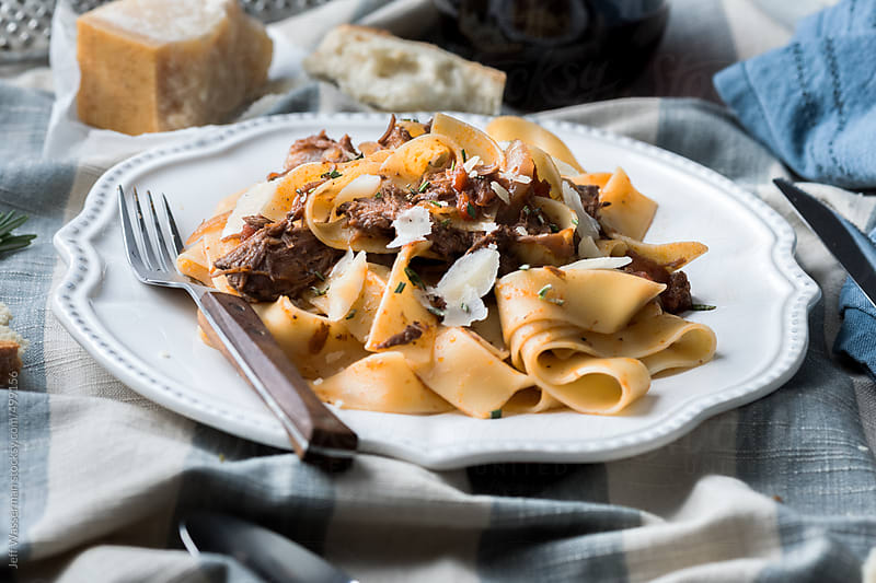 Slow Cooked Beef Ragu on Pappardelle Pasta by Jeff Wasserman for Stocksy United