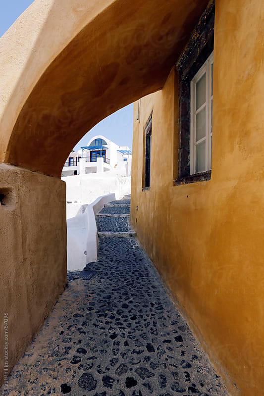 Vibrant archway, Santorini, Greece by Paul Phillips for Stocksy United