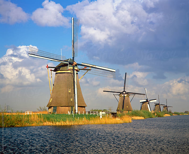 Netherlands, Europe, Holland, Zuid Holland, Row of Windmills and canal, Kinderdijk by Gavin Hellier for Stocksy United