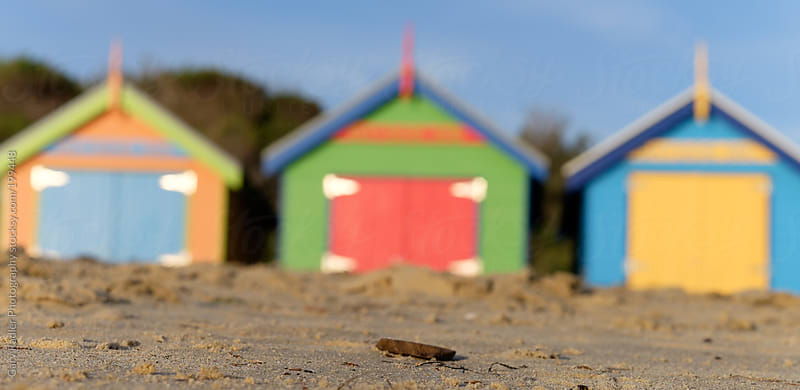 Three Blurred Brighton Bathing Boxes Panorama by Gary Radler Photography for Stocksy United