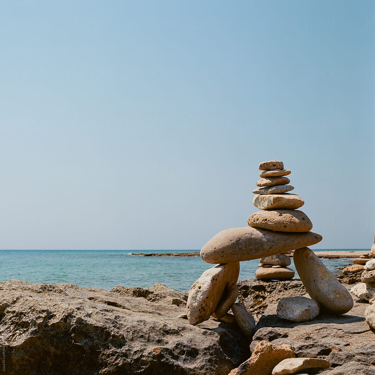 Stone Balancing Art By The Mediterranean Sea Shot On 120 Film