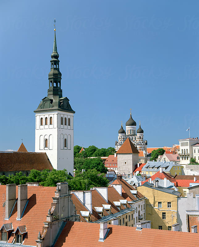 Rooftop view with Church of the Holy Ghost, Tallin, Estonia, Europe by Gavin Hellier for Stocksy United