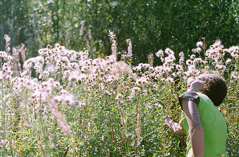 A film portrait of young beautiful woman in the meadow by Anna Malgina for Stocksy United