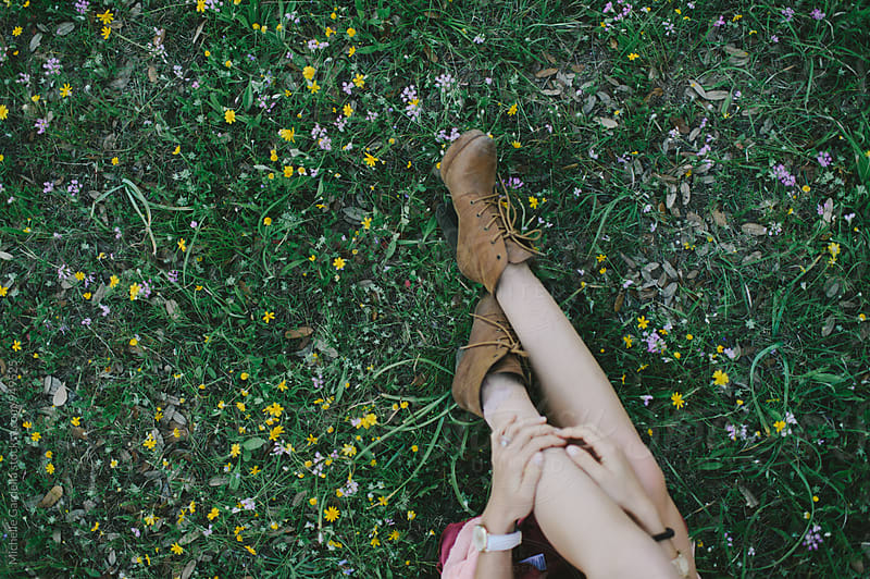 Legs in Wildflowers by Michelle Gardella for Stocksy United