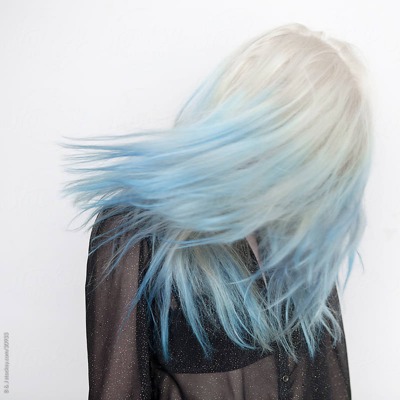 Blue Haired Girl  by B & J for Stocksy United