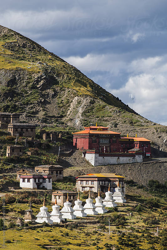 Lama Temple on the mountain in tibet by zheng long for Stocksy United